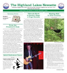 Highland Lakes Newsette - 2014.11.01 Cover