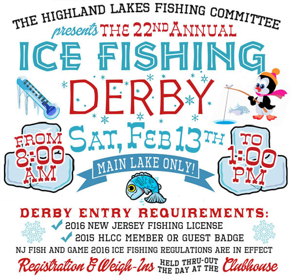Ice fishing derby saturday february 13 highland lakes for Ice fishing derby game